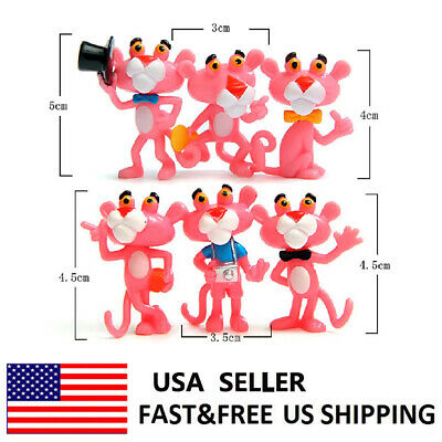 6Pcs Pink Panther Cartoon Animal Toys Cute PVC Action Figure Model Collection