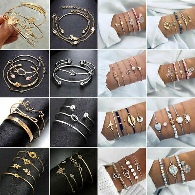 Fashion Women Jewelry Set Rope Natural Stone Crystal Chain Alloy Bracelets Gifts