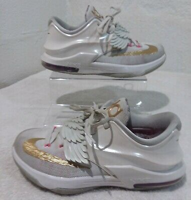 free shipping 5b003 18d20 Nike KD 7 VII GS Premium Aunt Pearl White Gold Pink Size 6Y (745407-