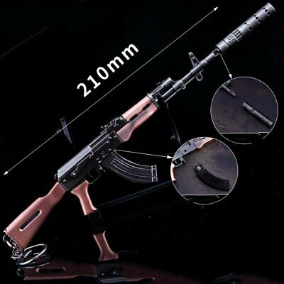 Military Model 1/6 Metal Weapon AKM Assault Rifle Action Figure key Chains Toys