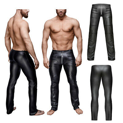 Sexy Mens Zip Faux Leather Wet Look Tight Pants Night Club Gay Lingerie Trousers