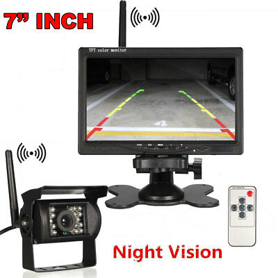 """Wireless 7"""" LCD Monitor+ IR Backup Reverse Rear View Camera for Truck RV Vehicle"""