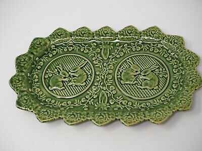 Bordallo Pinheiro Portugal Rabbit Green Oval Easter Platter Cookie Plate