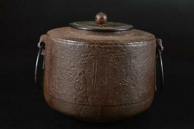 S1547: Japanese Old Iron Person Bamboo sculpture TEAKETTLE Teapot w/copper lid