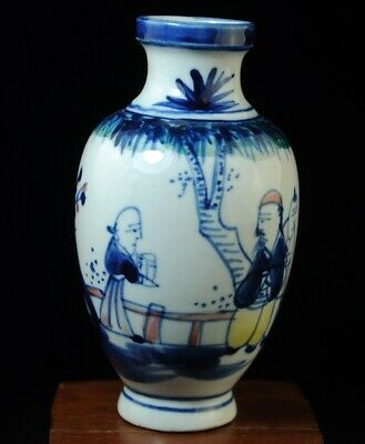 Old blue and white porcelain hand painted ancients porcelain Ornamental vase b01