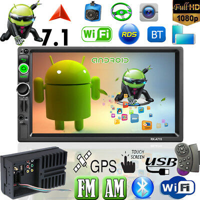 7'' 2DIN Android7.1 Car Stereo MP5 Player WiFi GPS Nav RDS Bluetooth AM&FM Radio
