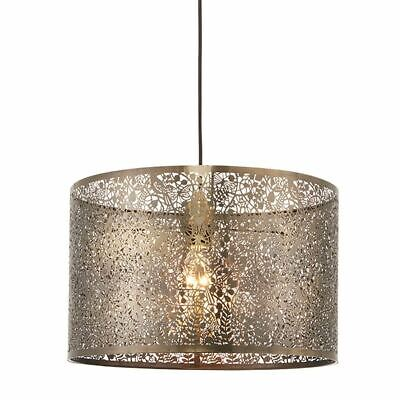 Secret Garden Antique Brass Effect Plate 300Mm Drum Shape Pendant Light 60W