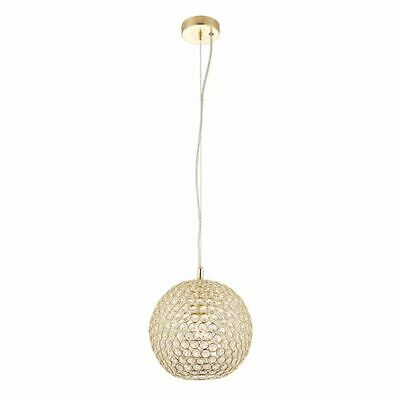 Claudia 1Lt Ceiling Pendant Light 40W Gold Brass Plate With Crystal Glass Shade