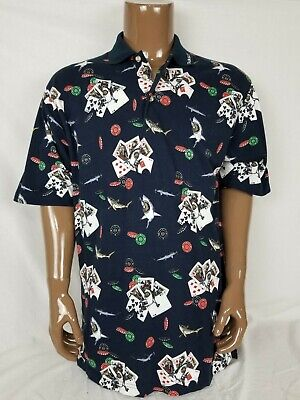 Tabasco Shirt Polo Poker Sharks Cards Casino Chips Navy Blue Mens Large