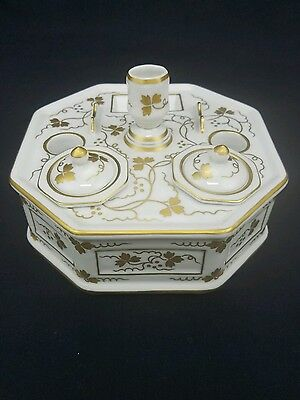 Antique Porcelain Hand Painted Double INKWELL Desk Top Gold Flower Leaf Design