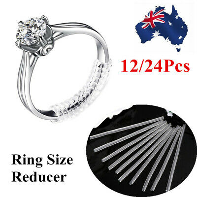 12/24pcs Ring Size Reducers Spiral Invisible Snugs Guard Resizer Adjuster Tool