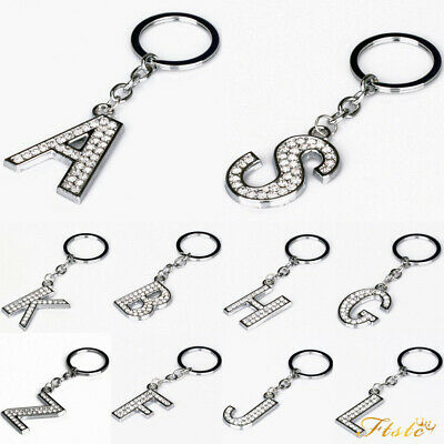 Alphabet Keyring Initial Letter Keychains Diamante Crystal Key Chains Xmas Gifts