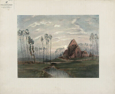 HG DEARTH Antique Ea.1900s Hand Colored Litho AN OLD CHURCH AT MONTREUIL, FRANCE