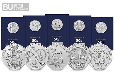 50th Anniversary of the 50p CERTIFIED BU Coin Set
