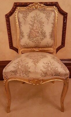 Gorgeous French Louis Xv Gilt Silky Tapestry Style Statement Chair