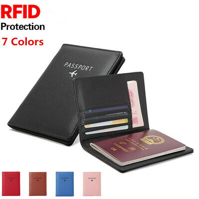 NEW RFID Blocking Leather Passport Holder Cover Case Wallet Secure Travel Trip