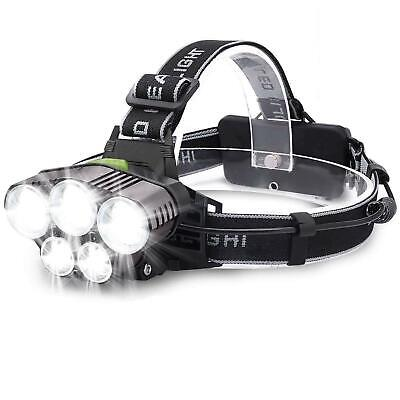 Bright 90000LM 5Modes 5x LED USB Rechargeable Headlamp Flashlight Torch Lamp