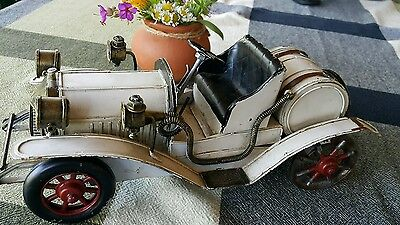 Vintage Toy Car Vehicle Handmade Tin Metal Retro Antique Model Large And Heavy