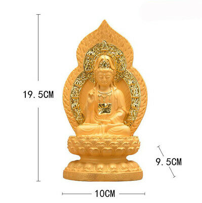 """7.7"""" Guanyin Kwanyin Resin with alluvial gold Figurine Statues Meditation Altar"""
