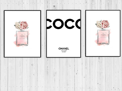 Set Of 3 Chanel Perfume Art Prints A4 Pink Dressing Room