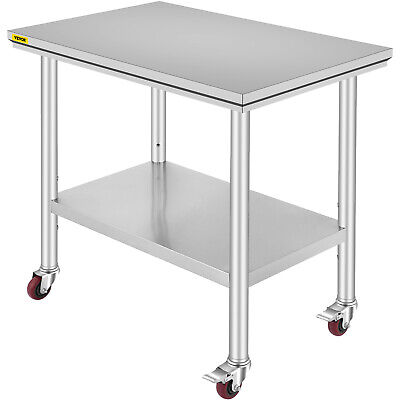 """36""""x24"""" Stainless Steel Work Table 4 Casters For Undershelf Cafeteria Silver"""