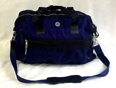 Lululemon Weekend Warrior Duffel Gym Bag Houndstooth Blue Black Grape RARE