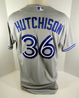 c017215b5 2016 Toronto Blue Jays Drew Hutchison  36 Game Issued Grey Jersey 40th Anv  Patch