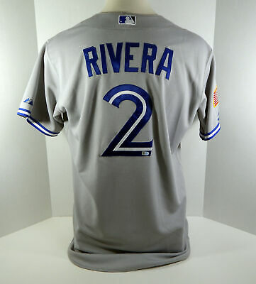 72ccd8f65d5 2015 Toronto Blue Jays Luis Rivera  2 Game Used Grey Indepence Memorial  Jersey