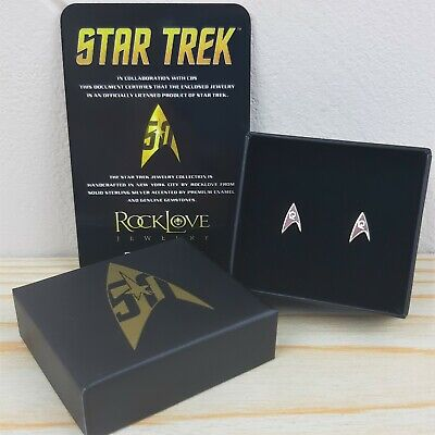 Official Star Trek TOS 50th Enamel Silver Stud Earring RED Engineering Division