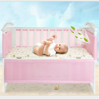 Baby Cot Mesh Liner 4 Sided Air Breathable Crib Bed Safety Polyester 8C