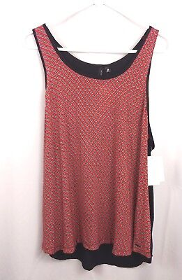 Kensie womens red geometric w/ black sleeveless shirt tank top cami NEW size XL
