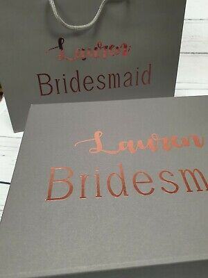 Bridesmaid gift box and bag set in grey / Bridesmaid / Flower girl / gift box  g