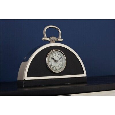 Kensington Town House Mantel Clock Lth/efft 27 X 4 X 20cm - Stainless Steel