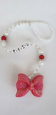 Bling personalised dummy clip Red and White Red shamballa Sparkly Red bow