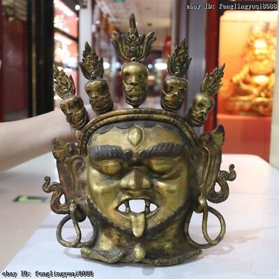 Old Tibet Buddhism Temple Red Copper Gold Gilt Mahakala Deity Buddha Head Mask