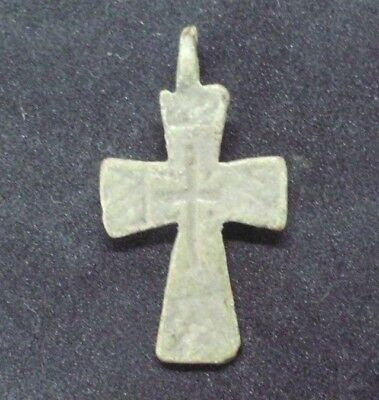 Byzantine Medieval Bronze Christian Cross Pendant - Wearable Artifact