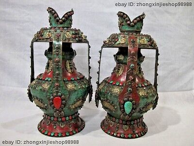 Tibet old Bronze Copper handwork inlay turquoise coral Gem Ruby Pot Vase Pair