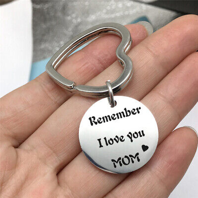 "Heart Ring Keychain ""Remember I Love You Mom"" Chain Letter Tag Mother Gift 8C"