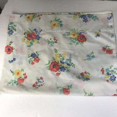vintage muslin pillowcase white color floral wildflowers orange blue yellow