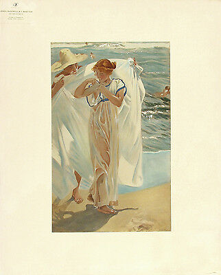 SOROLLA Y BASTIDA Antique & Rare c1908 Hand Colored Litho AFTER THE BATH, Beauty