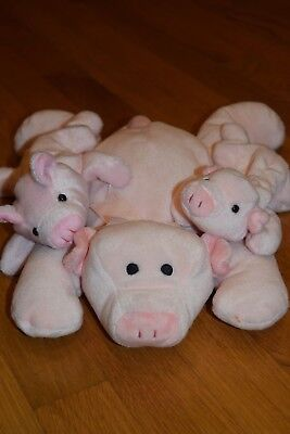 c100987ebee Squealer the Pig TY Beanie Baby Buddy Large Pink Plush Retired Lot of 3 No  Tags