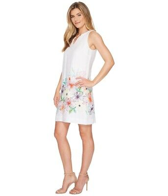 0d4719d16b Tommy Bahama Hibis-Sketch White Linen Sleeveless Dress Floral Print Size M  NWT