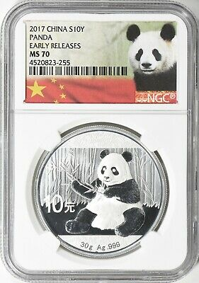 2017 CHINA PANDA .999 10 Yn 1 OZ. SILVER EARLY RELEASES NGC MS70