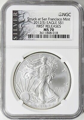 2012-(S) SILVER EAGLE FIRST RELEASES Struck San Francisco NGC MS70 (ALS LIBERTY)