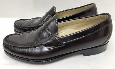 Mens SAS Dark Cherry-Chocolate Brown Leather Penny Loafers Shoes SIZE 10.5 Slim