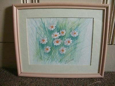 G.S. Taylor Original Framed Watercolor Painting of Daisies White & Yellow