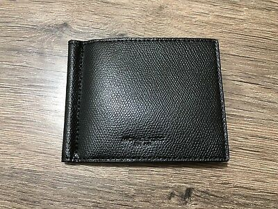 93965cae00bd23 MICHAEL KORS Money Clip Billfold Card Case Wallet Black Leather WITH BOX