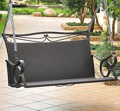 2 Seat Antique Black Resin Wicker Patio Porch Swing Outdoor Home Furniture Yard