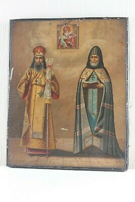 Russian icon two saints 19th century chromolithograph 100 %original