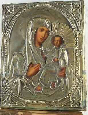 russian icon tikhvinskaya virgin salary bronze 19th century 100% original